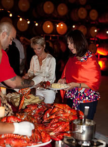 lobster clambake catered at winery cellar