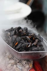 bowl of steaming mussels