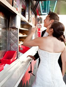 bride and groom at the ChowderMobile for catered wedding reception