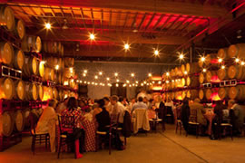 wedding reception catered inside winery cellar