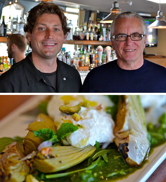 Lewis Rossman and Paul Shenkman (above) and Burrata Cheese with Grilled Artichokes from Campo 185 (below)
